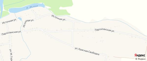Партизанская улица на карте села Быстрого Истока с номерами домов