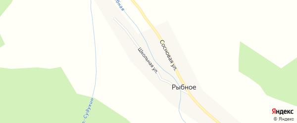 Школьная улица на карте Рыбного села с номерами домов