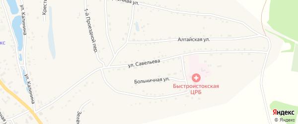 Улица Савельева на карте села Быстрого Истока с номерами домов
