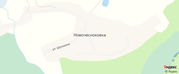 Дачная улица на карте села Новочесноковки с номерами домов