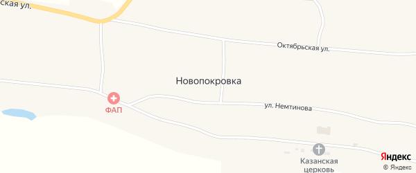 Южный переулок на карте села Новопокровки с номерами домов