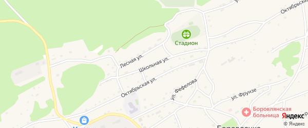 Школьная улица на карте села Боровлянки с номерами домов