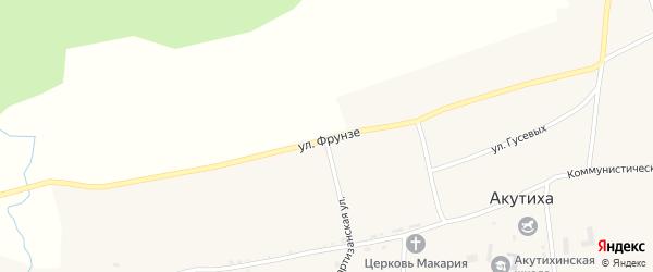 Улица Фрунзе на карте села Акутихи с номерами домов