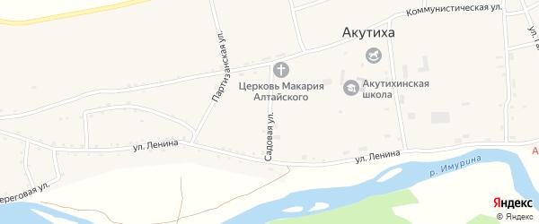 Садовая улица на карте села Акутихи с номерами домов