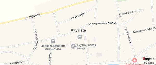 Зеленая улица на карте села Акутихи с номерами домов