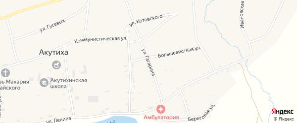 Улица Гагарина на карте села Акутихи с номерами домов
