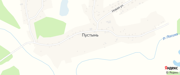 Заречная улица на карте села Пустыни с номерами домов