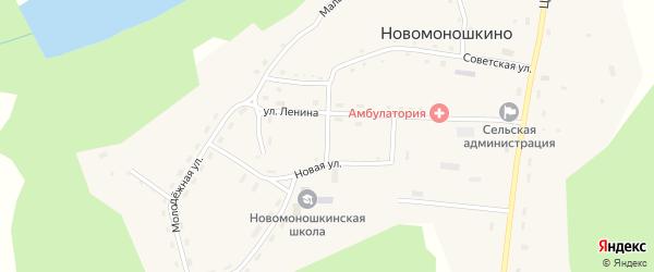 Школьный переулок на карте села Новомоношкино с номерами домов