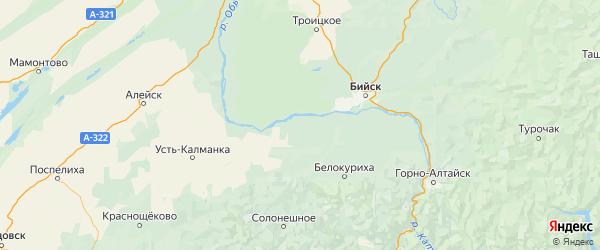 Карта Быстроистокского района Алтайского края с городами и населенными пунктами