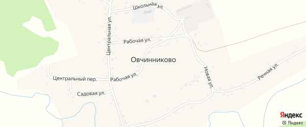 Центральная улица на карте села Овчинниково с номерами домов