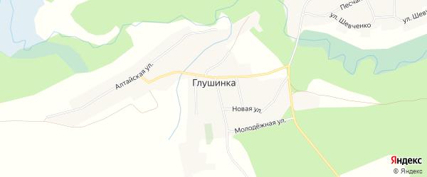 Карта села Глушинка в Алтайском крае с улицами и номерами домов
