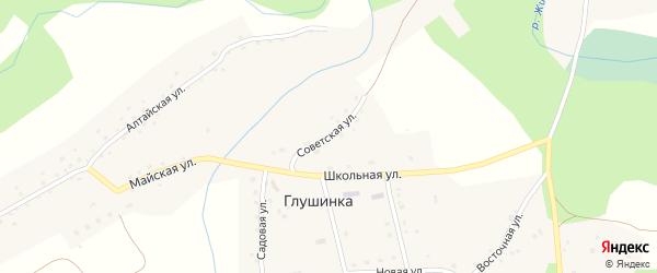 Советская улица на карте села Глушинка с номерами домов
