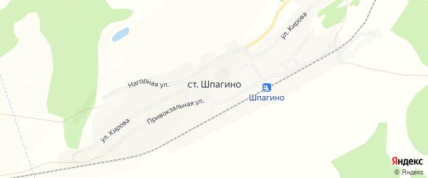 Карта станции Шпагино в Алтайском крае с улицами и номерами домов