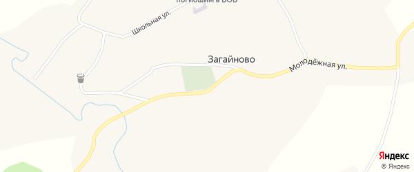 Южаковская улица на карте села Загайново с номерами домов