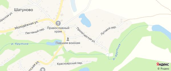 Пролетарская улица на карте села Шатуново с номерами домов