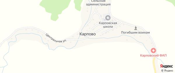 Школьная улица на карте села Карпово с номерами домов