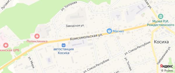Комсомольская улица на карте села Косихи с номерами домов