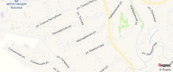 Молодежная улица на карте села Косихи с номерами домов