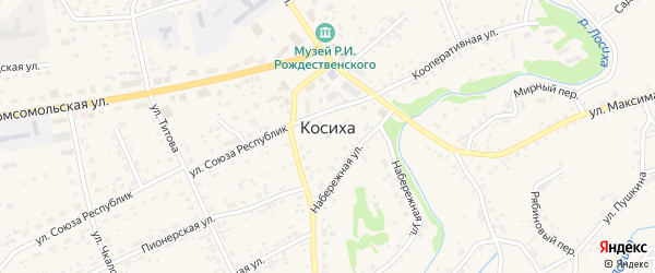 Заречный переулок на карте села Косихи с номерами домов