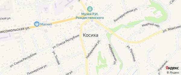 Песчаный переулок на карте села Косихи с номерами домов