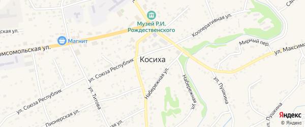 Банковский переулок на карте села Косихи с номерами домов