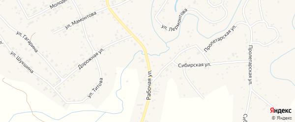 Рабочая улица на карте села Косихи с номерами домов