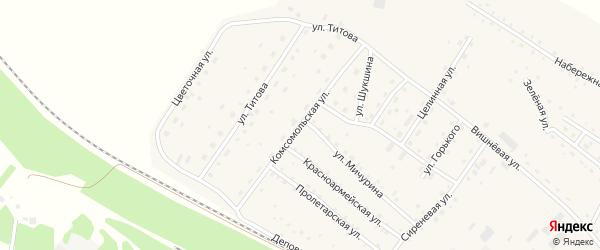 Комсомольская улица на карте села Налобиха с номерами домов