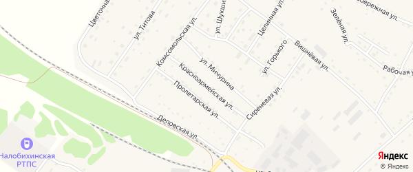 Красноармейская улица на карте села Налобиха с номерами домов