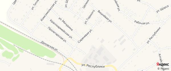 Сиреневая улица на карте села Налобиха с номерами домов