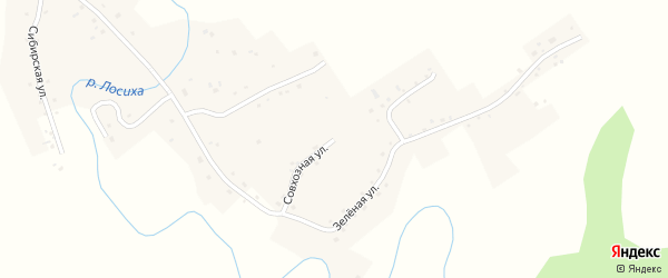 Совхозная улица на карте села Косихи с номерами домов