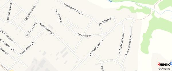 Рабочая улица на карте села Налобиха с номерами домов