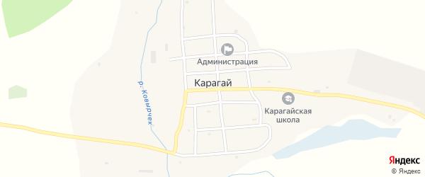 Кустарный переулок на карте села Карагая с номерами домов