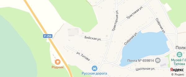 Бийская улица на карте села Полковниково с номерами домов