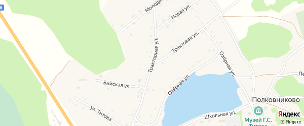 Тракторная улица на карте села Полковниково с номерами домов