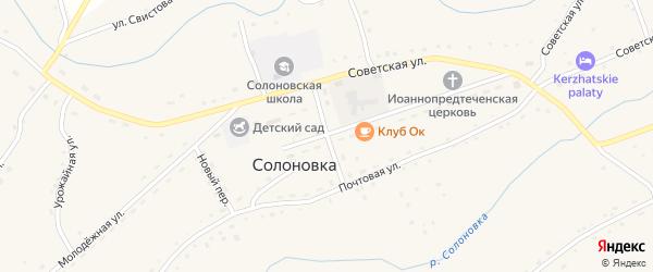 Солнечный переулок на карте села Солоновка с номерами домов