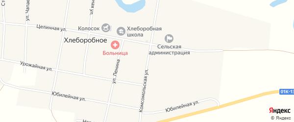 Комсомольская улица на карте Хлеборобного села с номерами домов