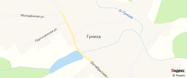Партизанская улица на карте села Гунихи с номерами домов