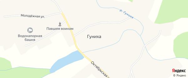 Октябрьская улица на карте села Гунихи с номерами домов
