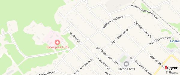 Больничный переулок на карте Троицкого села с номерами домов