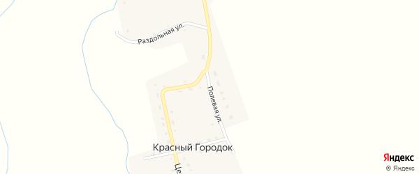 Полевая улица на карте поселка Красного Городка с номерами домов