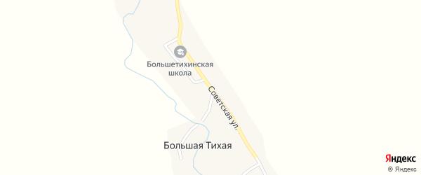 Советская улица на карте села Большей Тихой с номерами домов