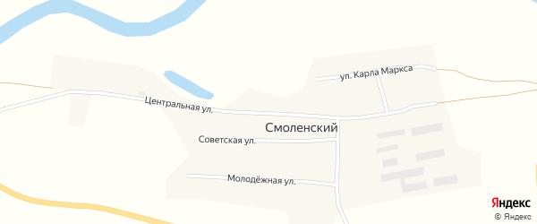 Центральная улица на карте Смоленского поселка с номерами домов