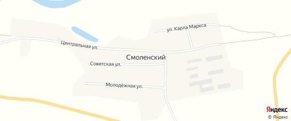 Молодежная улица на карте Смоленского поселка с номерами домов