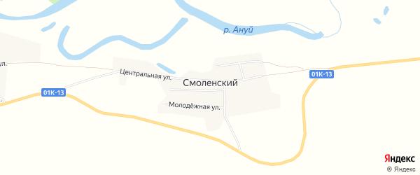 Карта Смоленского поселка в Алтайском крае с улицами и номерами домов
