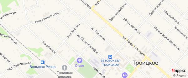 Вокзальный переулок на карте Троицкого села с номерами домов