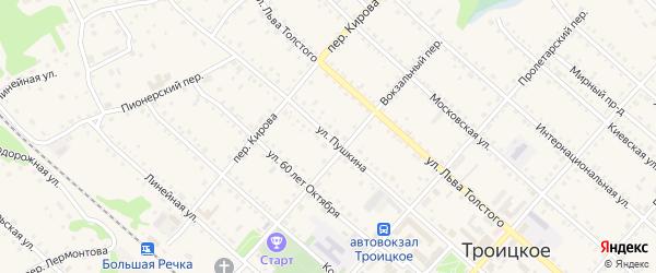Улица Пушкина на карте Троицкого села с номерами домов