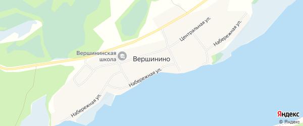 Карта села Вершинино в Алтайском крае с улицами и номерами домов