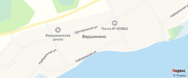Центральная улица на карте села Вершинино с номерами домов