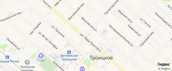 Пролетарский переулок на карте Троицкого села с номерами домов