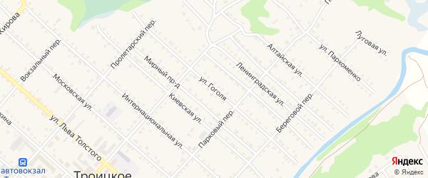 Улица Гоголя на карте Троицкого села с номерами домов